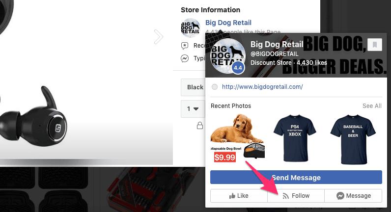 Facebook Marketplace follow button