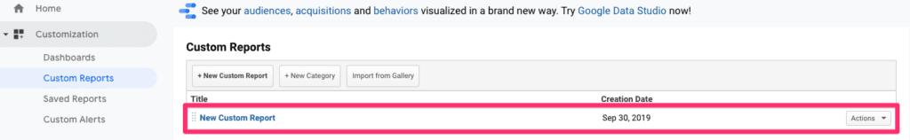 Google Analytics new custom report