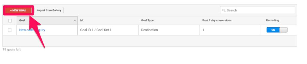 Google Analytics - create new goal