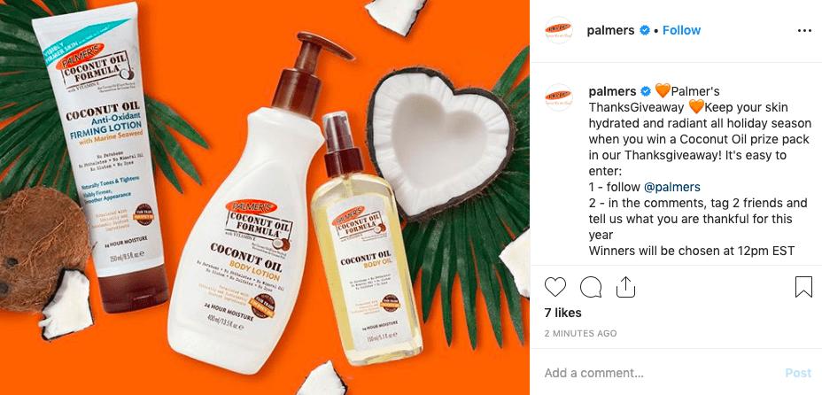 Palmer's instagram giveaway