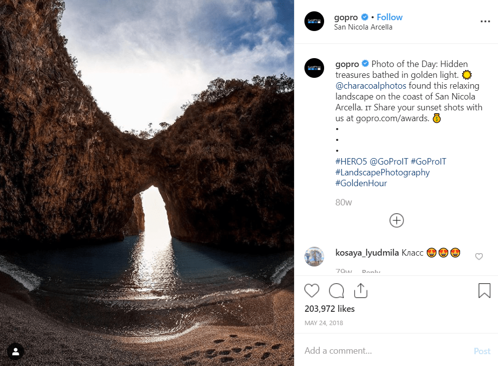 GoPro instagram post