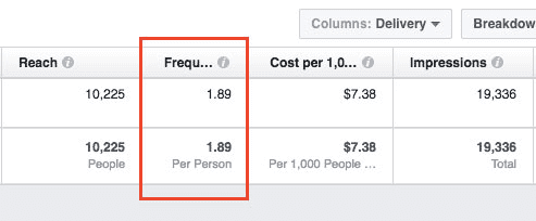 Facebook Ads Metrics - Frequency