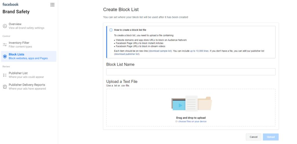 Facebook 'Create Block List' screen view