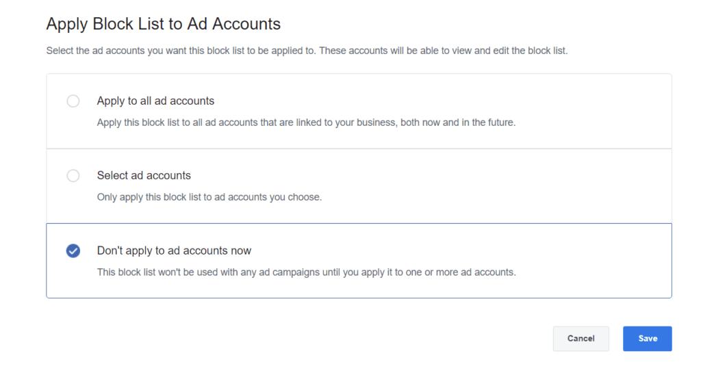 'Apply Block Lists' screen view