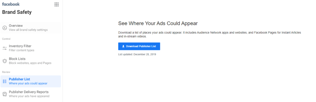 Facebook ad placements - Facebook publisher list download screen