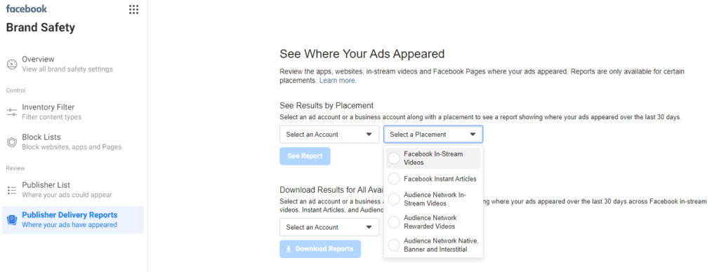 Facebook ad placements - Delivery reports download screen