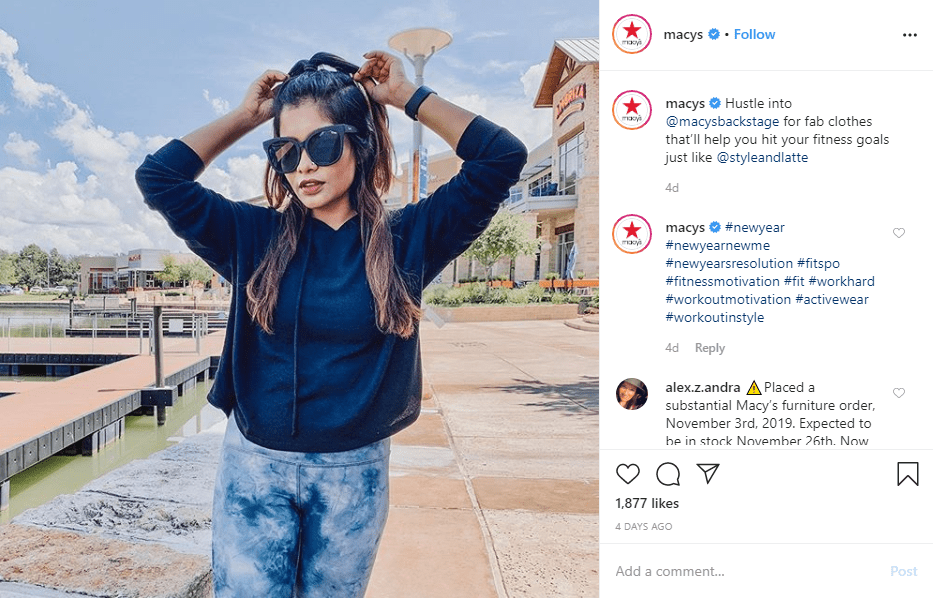 Macy's uses a mix of hashtags in their post