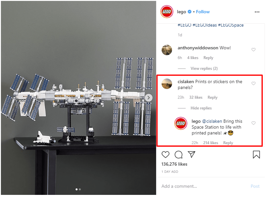 Lego answers user questions on their post