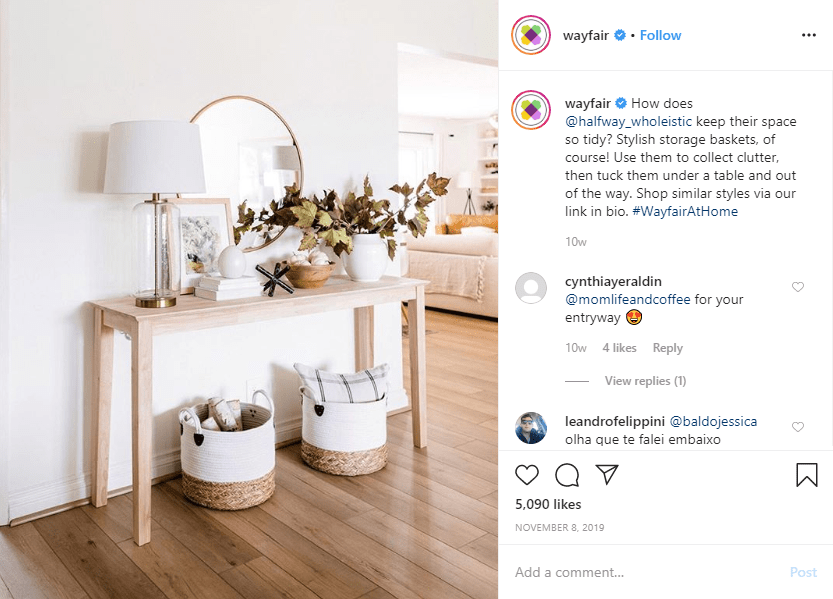 Wayfair shares a user-generated post