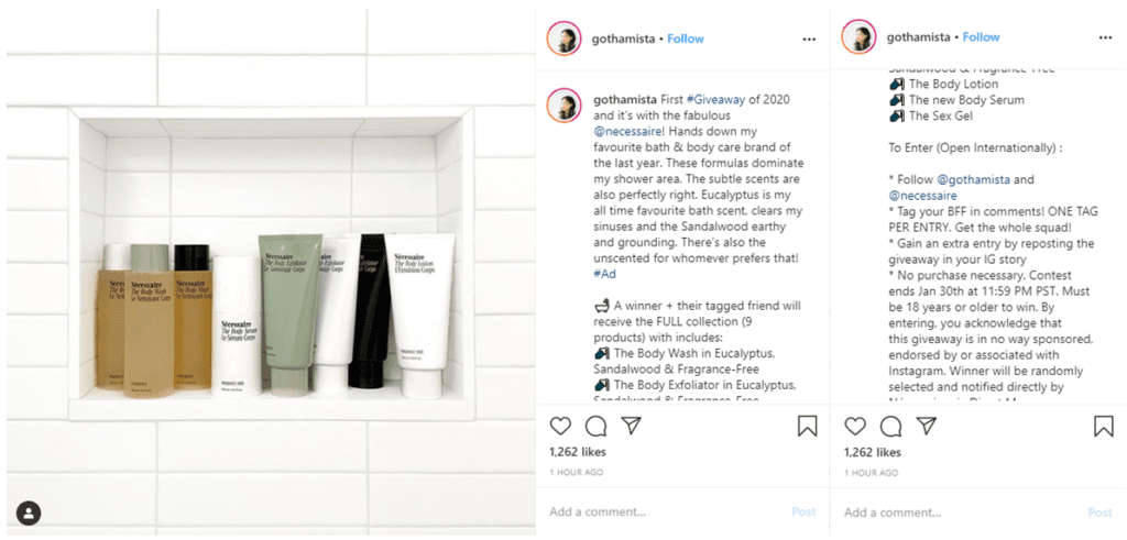 Necessaire partners with influencers for giveaways