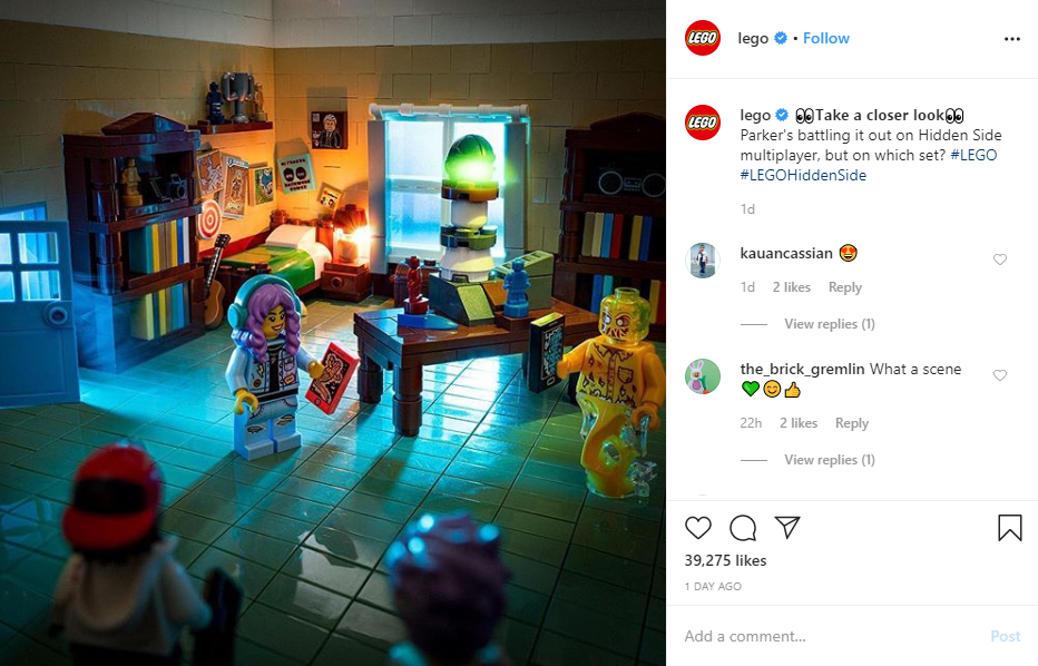 Lego uses emojis in a post
