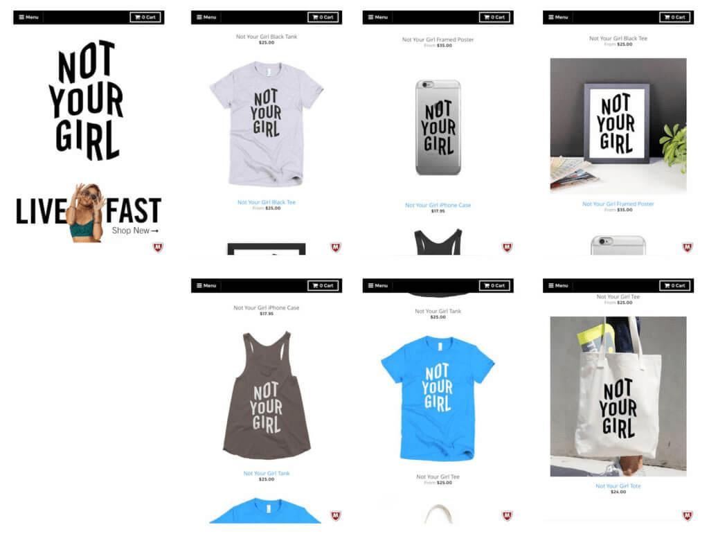 Screenshot of Not Your Girl store