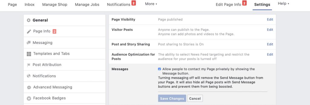 Facebook Messenger ad creation screenshot