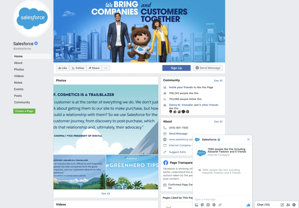 Facebook Messenger Salesforce example