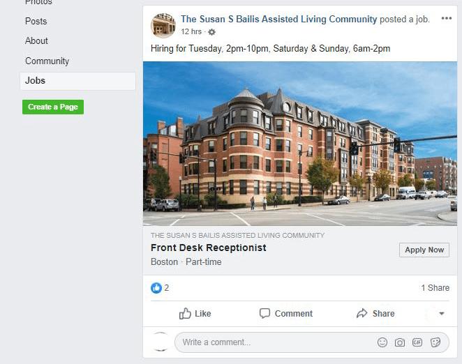 Facebook job posting e.g.