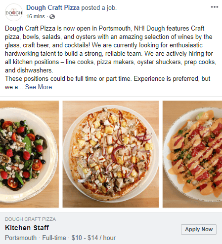 Facebook job post example