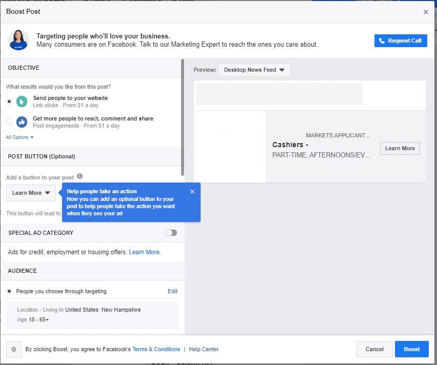 Facebook boost post screen