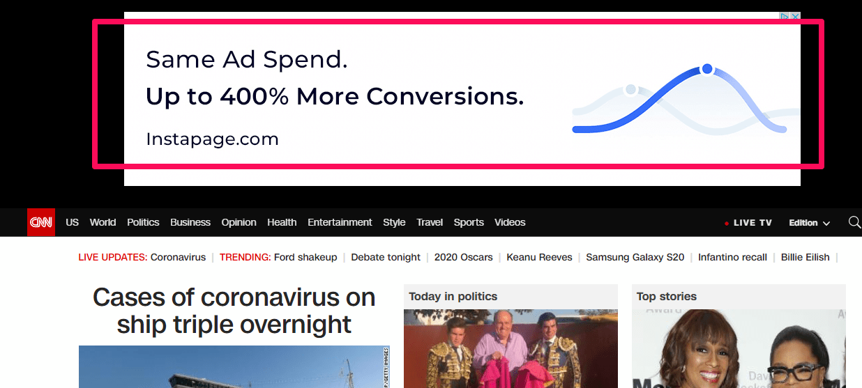 eCommerce advertising - CNN google display ad examle