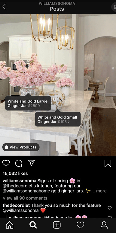 eCommerce advertising - example of an Instagram shopping post from Williams Sonoma