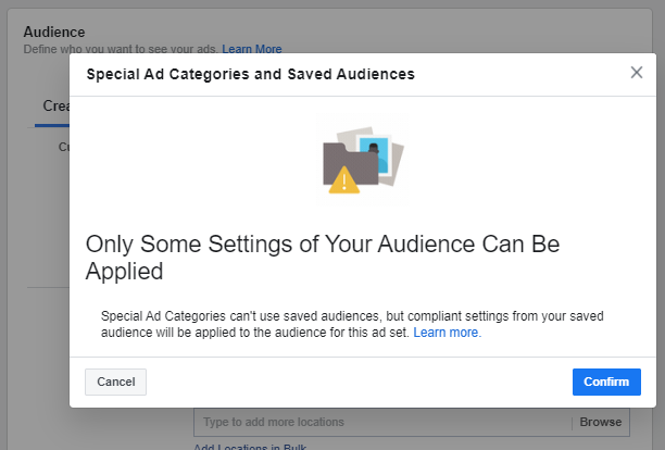 Saved Audience Unavailable view