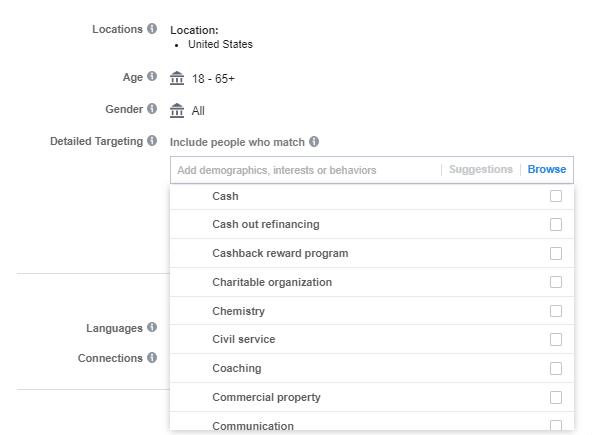 Facebook interests targeting