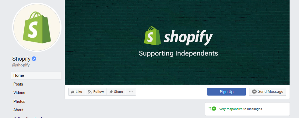 Shopify Facebook page