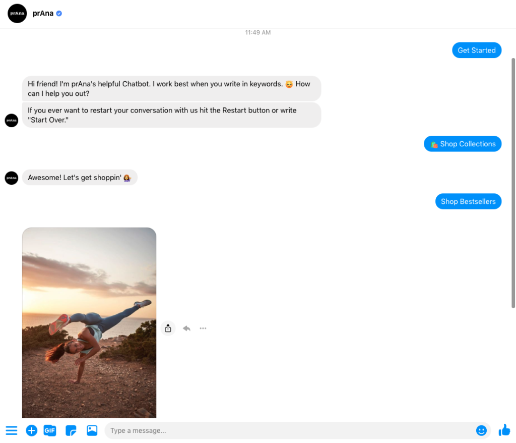 prAna Messenger chatbot example