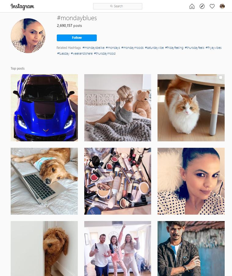 Monday Blues Instagram hashtag
