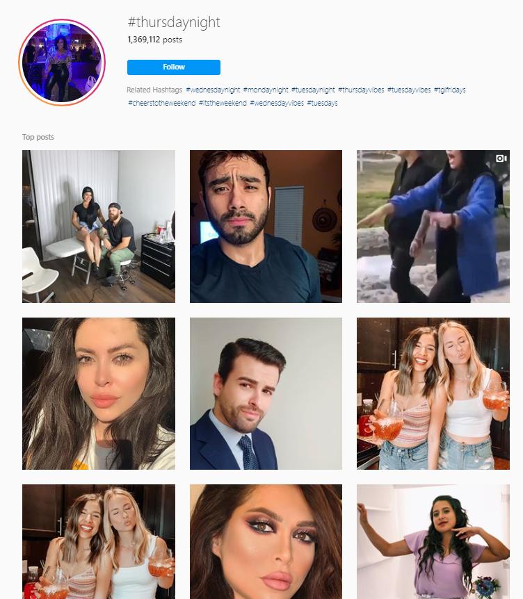 Thursdaynight Instagram hashtags