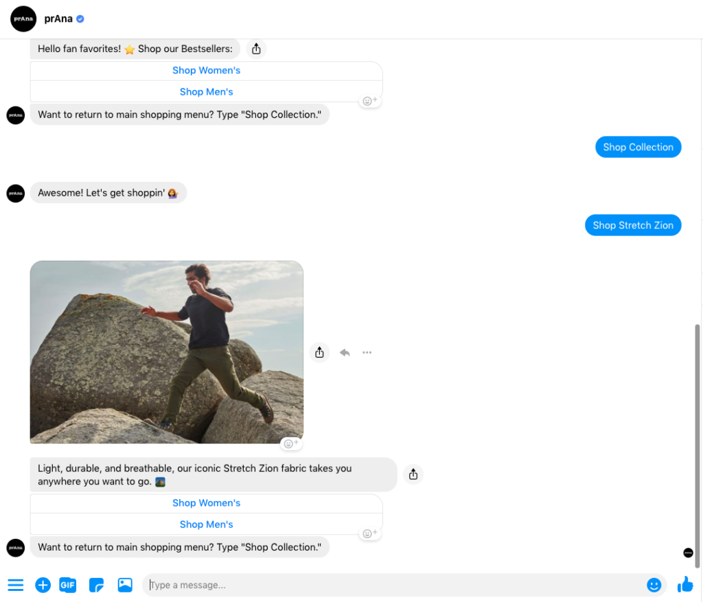 prAna Messenger chatbot example 2