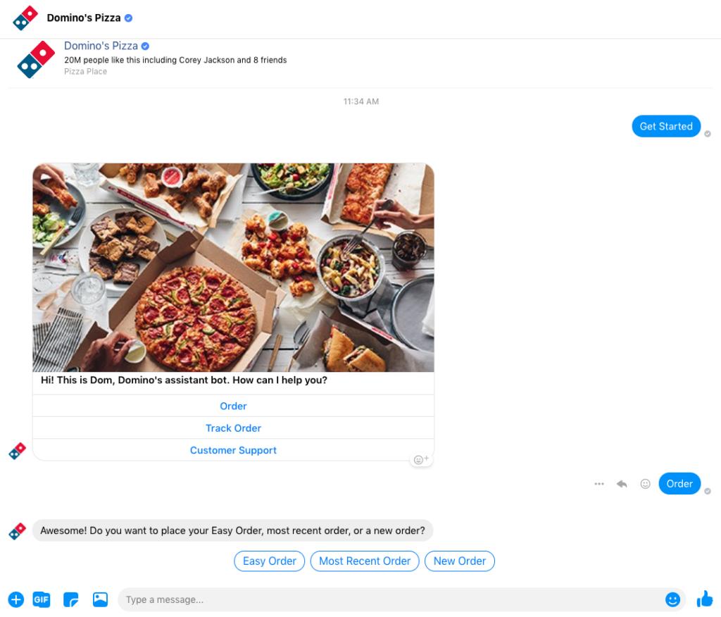 Dominos Messenger chatbot eg
