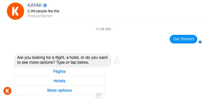 Kayak Messenger chatbot eg