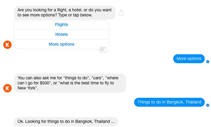 Kayak Messenger chatbot eg 2