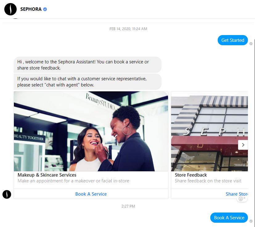 Sephora Messenger chatbot eg