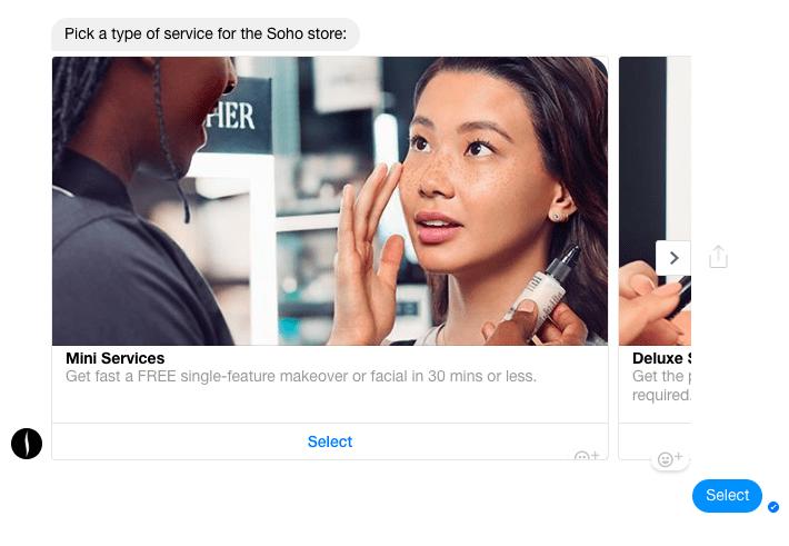 Sephora Messenger chatbot eg 3
