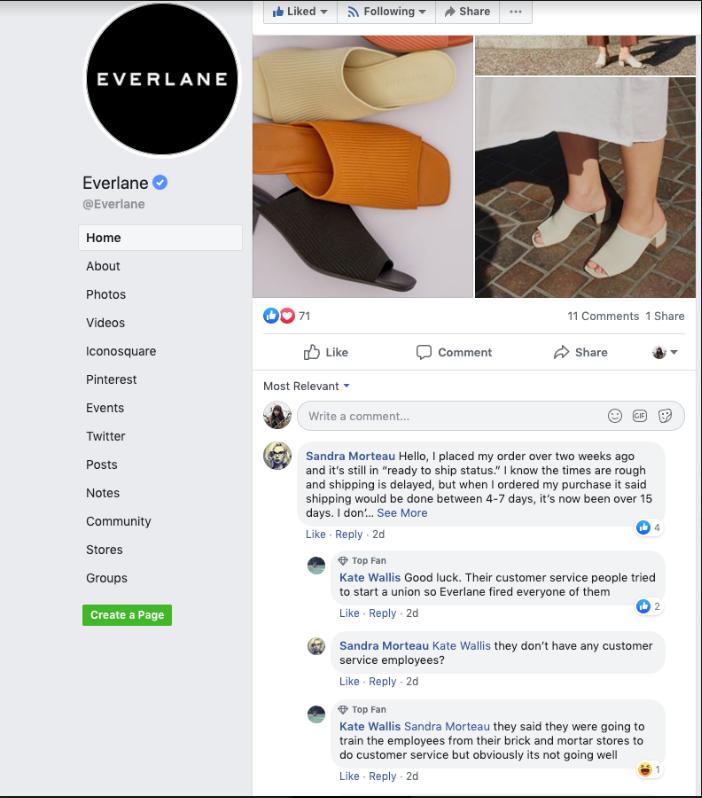 Online reputation management Everlane eg.