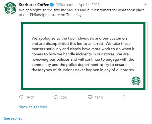 Starbucks apology eg.