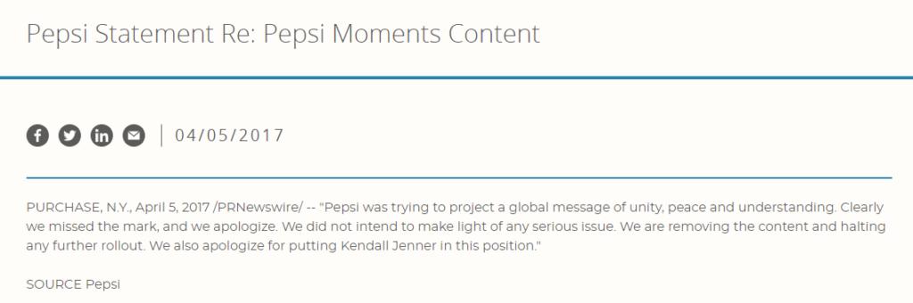 Pepsi 2017 apology