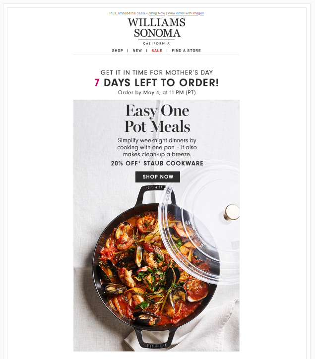 Williams Sonoma Mothers Day ad