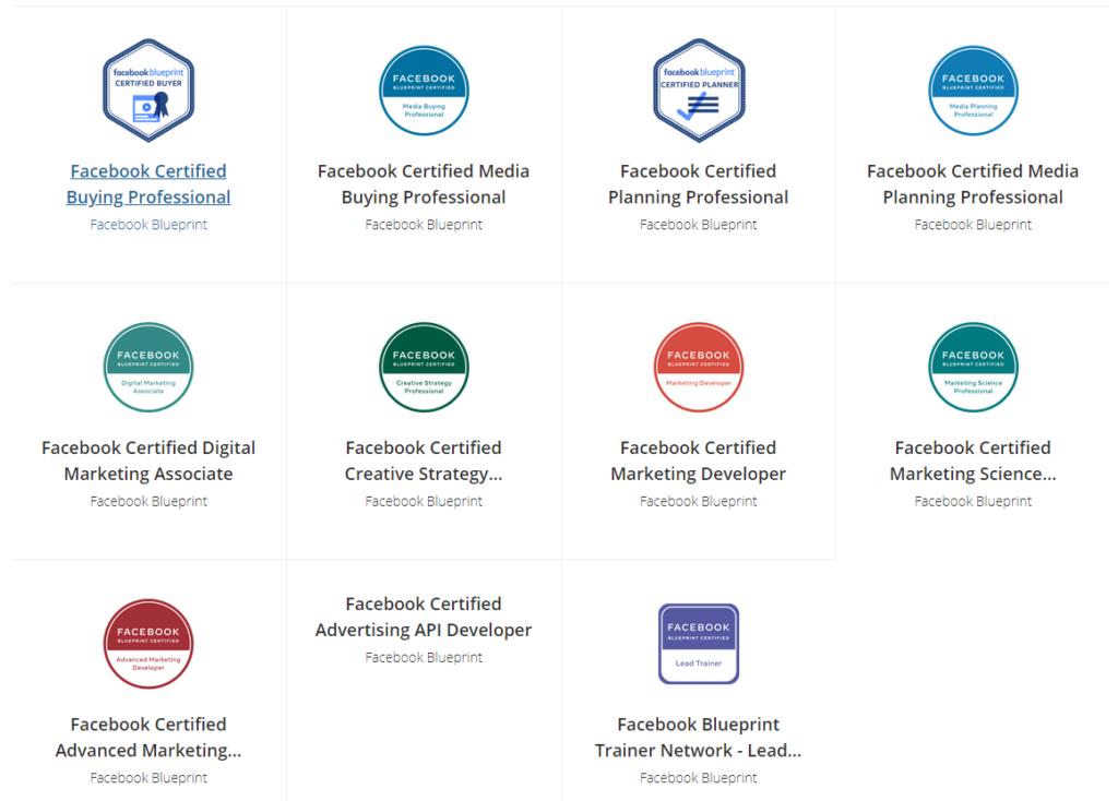 Facebook Blueprint certification badges