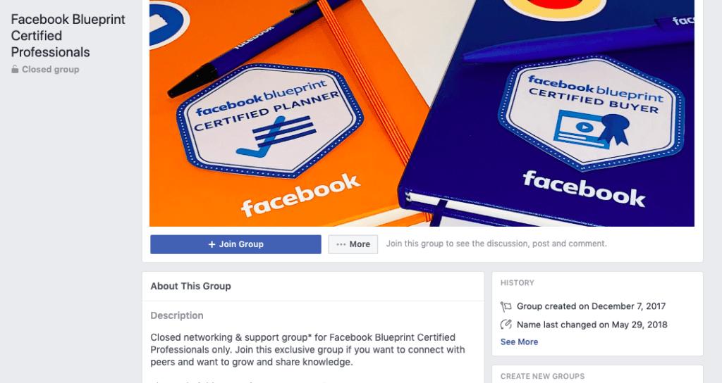 Facebook Blueprint Certified Professionals Facebook group