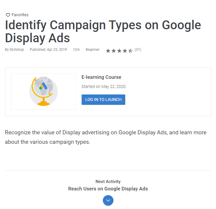 Google Ads certification course option