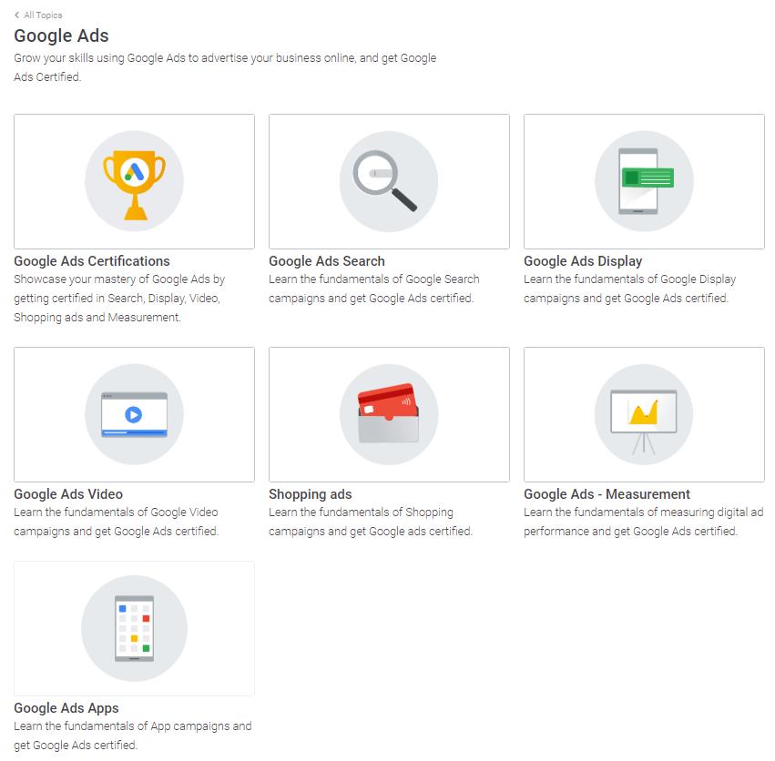 Google Ads section in Skillshop