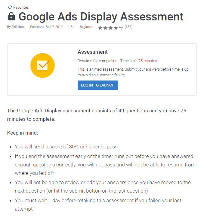 Google Ads Display assessment