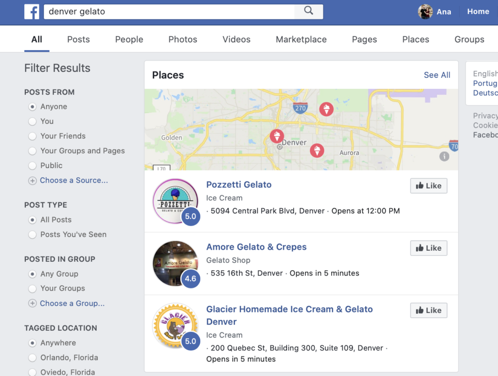 social media and local search