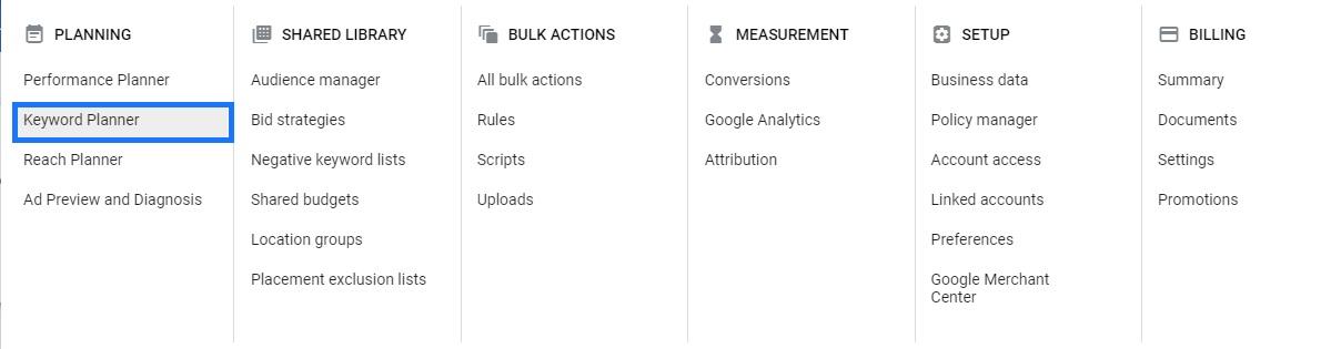 Google Ads menu keyword planner