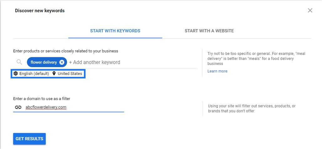Google Ads discover new keywords search