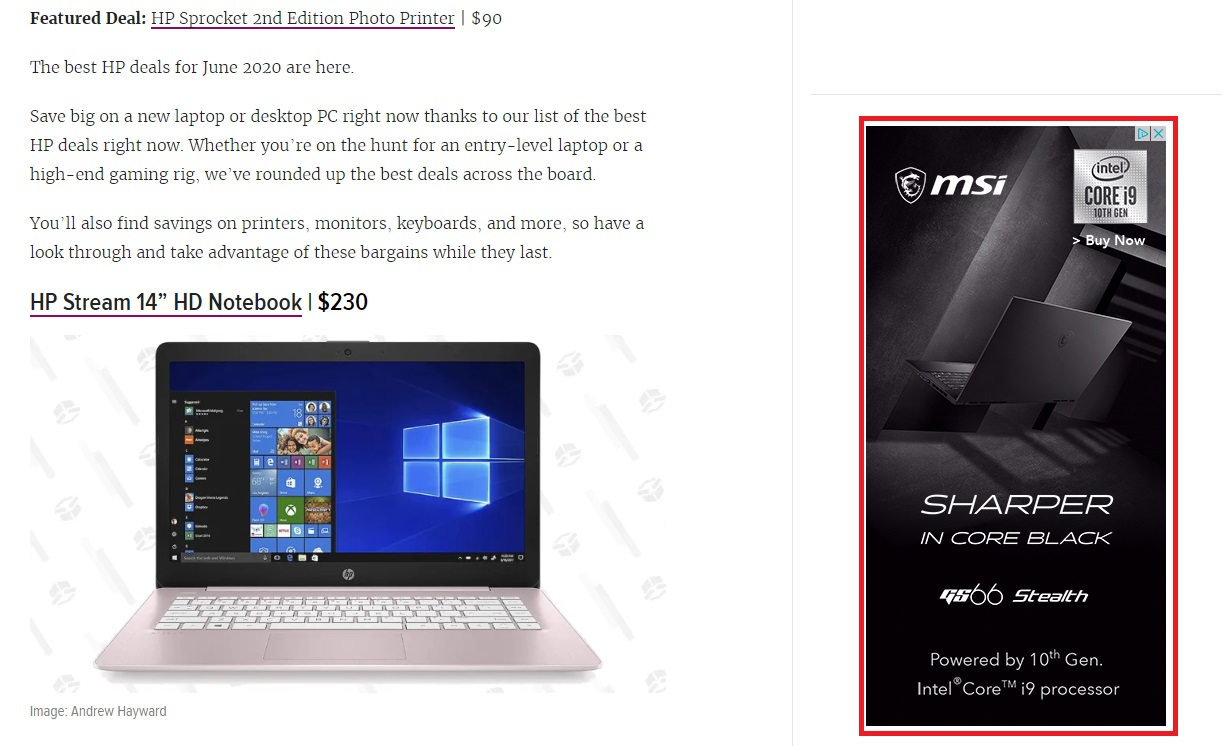example of MSI banner ad