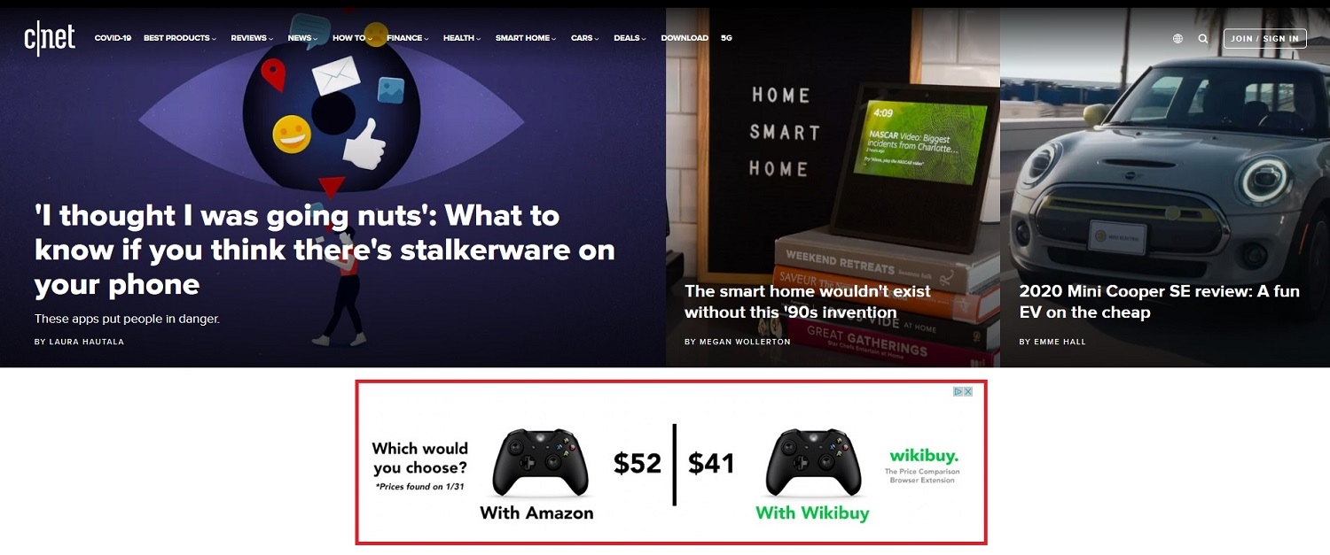Banner ad example by Wikibuy