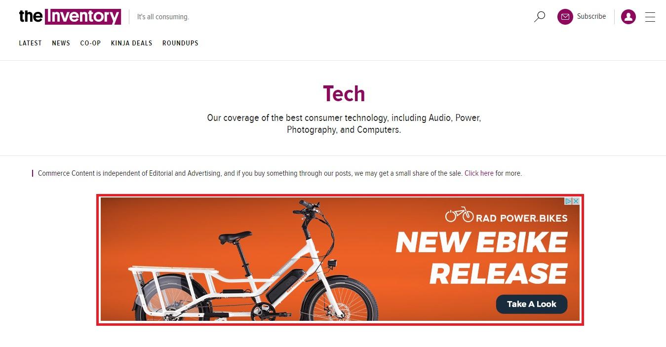 RadPower Bikes banner ad example